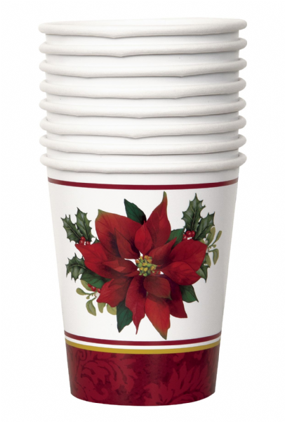 Holly Poinsettia Paper Cups (8)